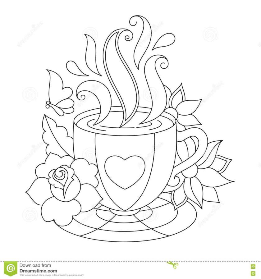 vector coffee or tea cup. coloring pages. stock vector