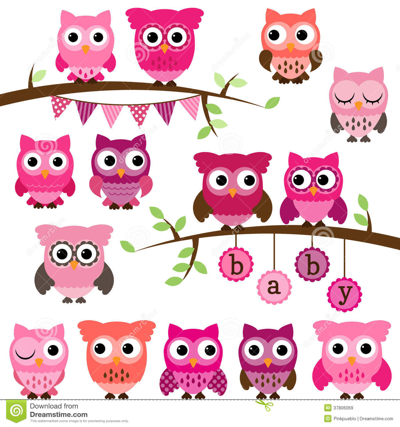 Vector Collection Of Girl Baby Shower Themed Owls Royalty