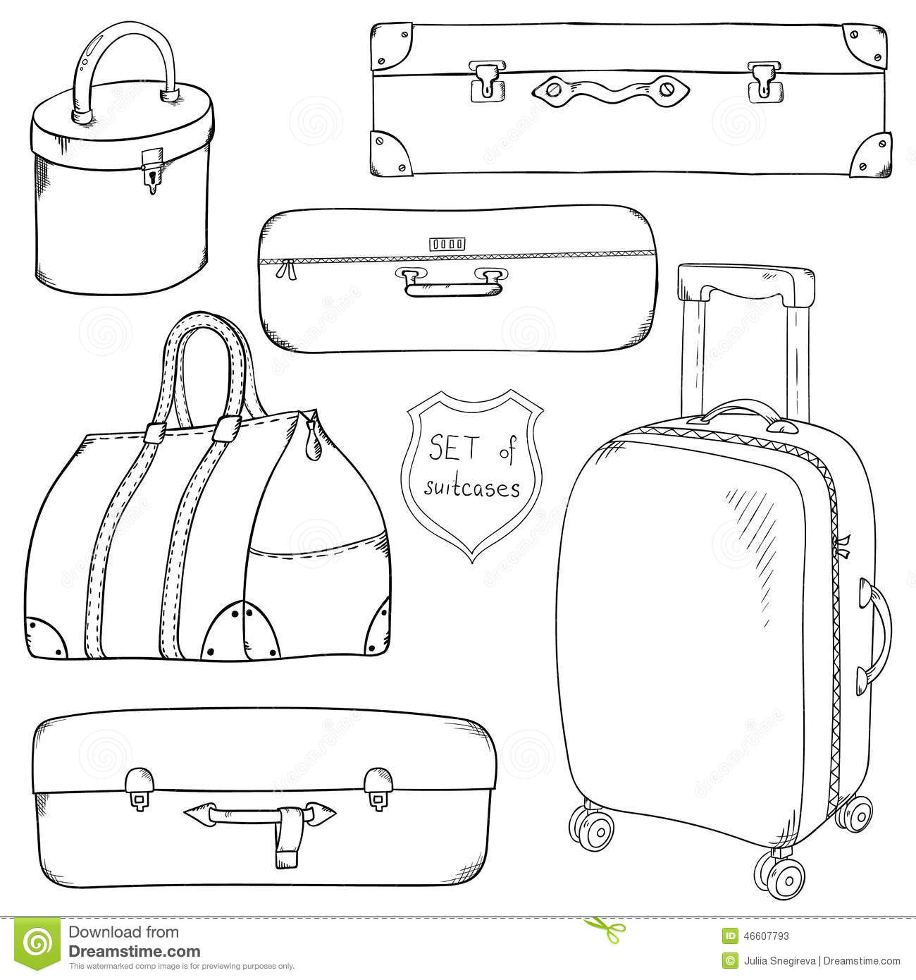 Vector Collection Of Vintage Sketch Suitcases Stock
