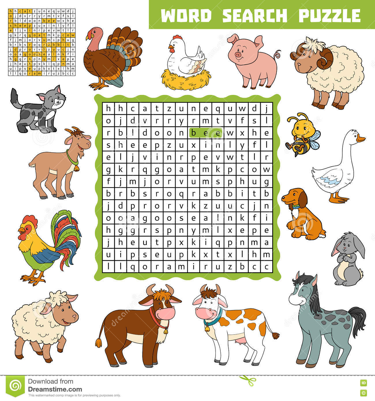 Vector Color Crossword About Farm Animals Word Search