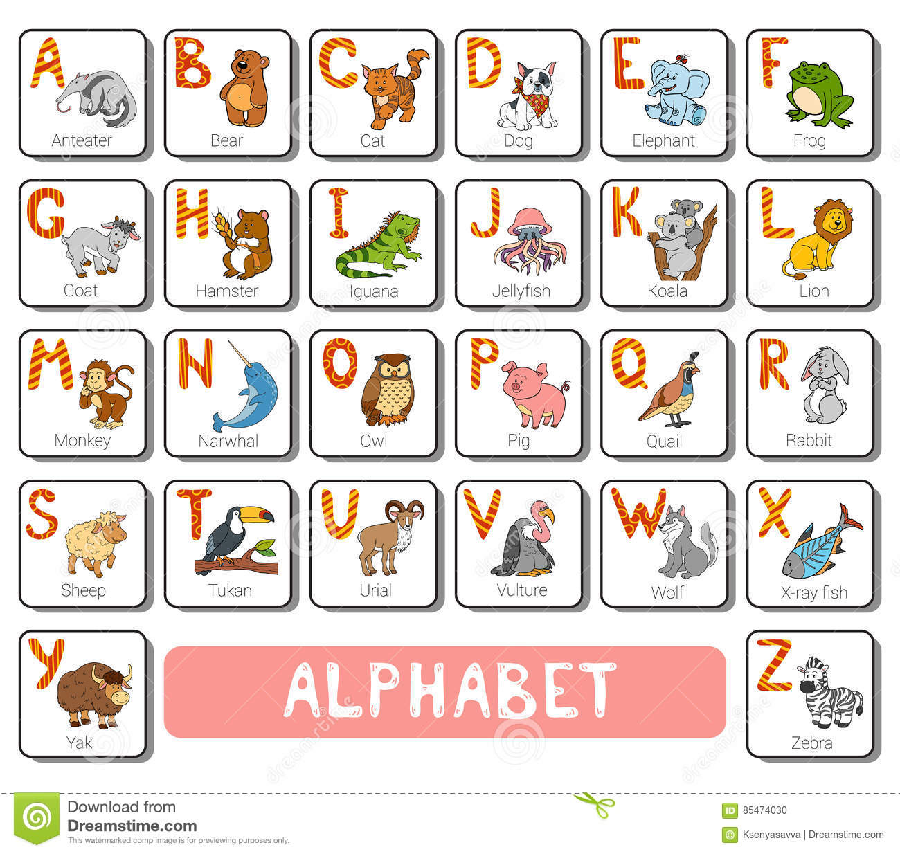 Vector Color Zoo Alphabet Square Card With Animals Stock