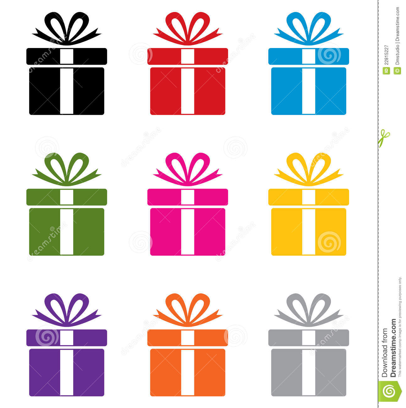 Pink Gift Present Box Icon With Green Ribbon And Bow