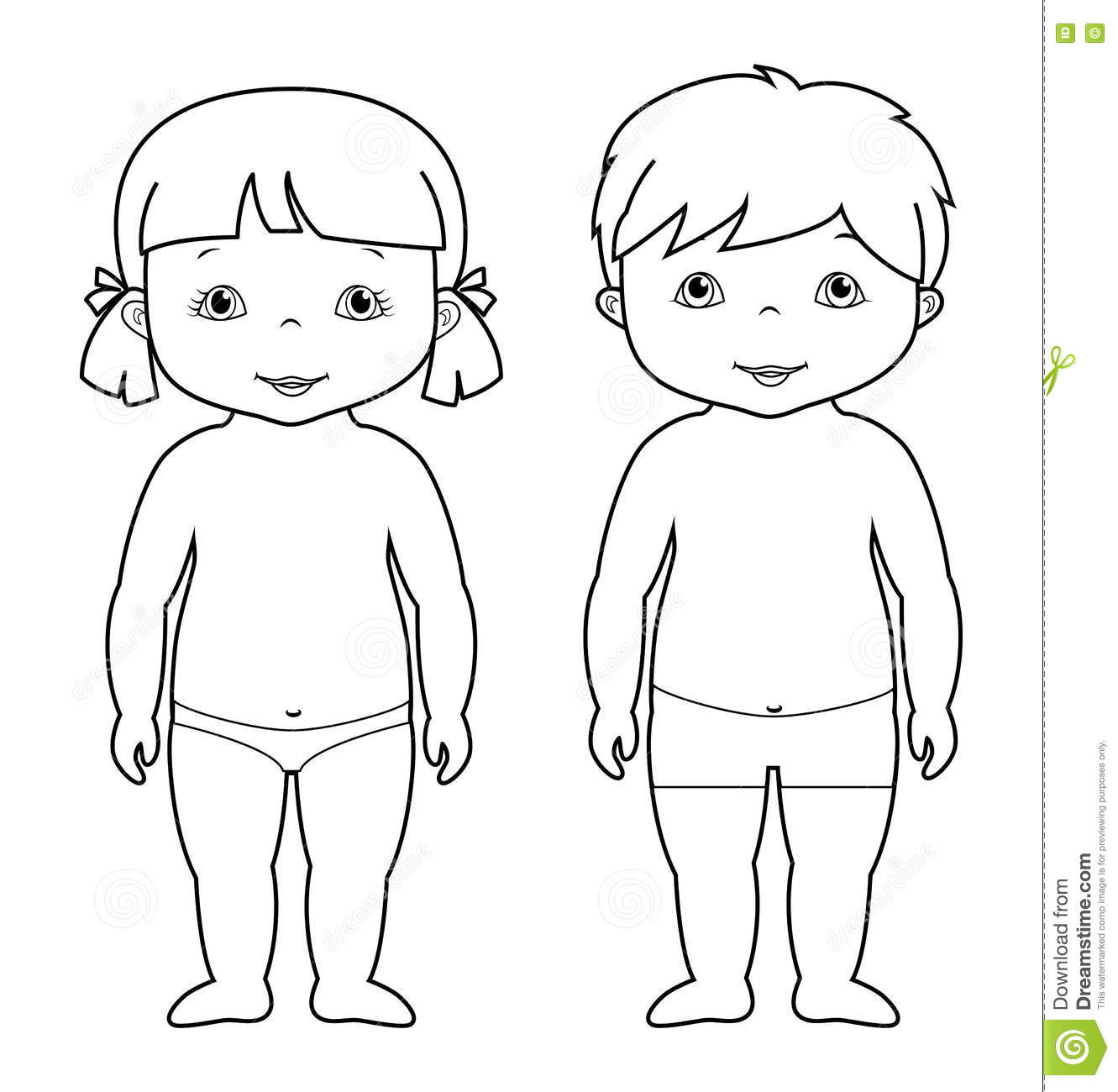 Vector Coloring Page Of Cute Baby Boy And Girl Stock