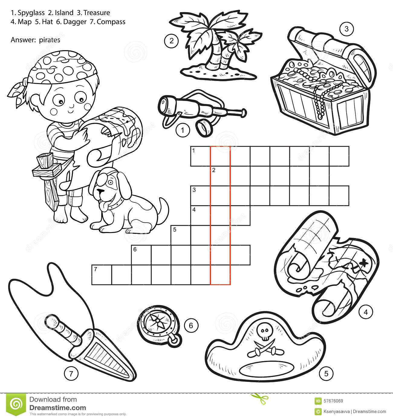 Vector Colorless Crossword Education Game About Pirates