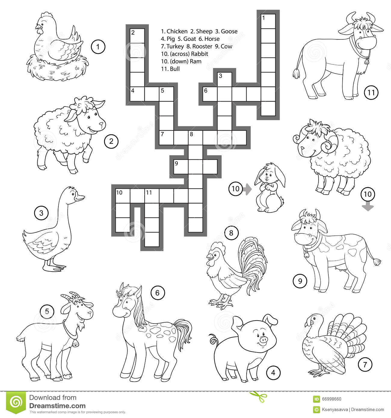 Vector Colorless Crossword About Farm Animals Stock Vector
