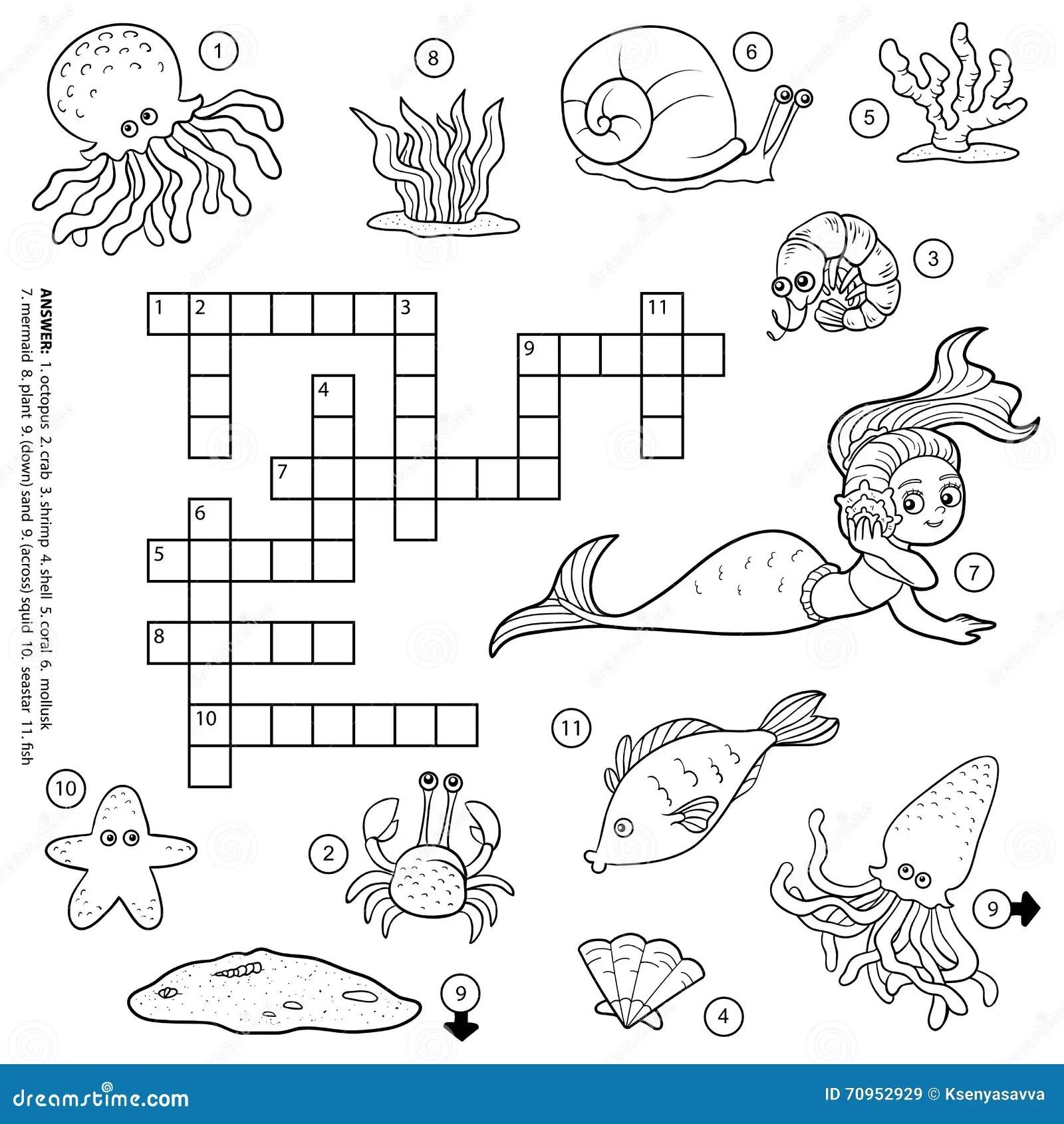 Sea Animal Puzzle Crossword Cartoon Vector