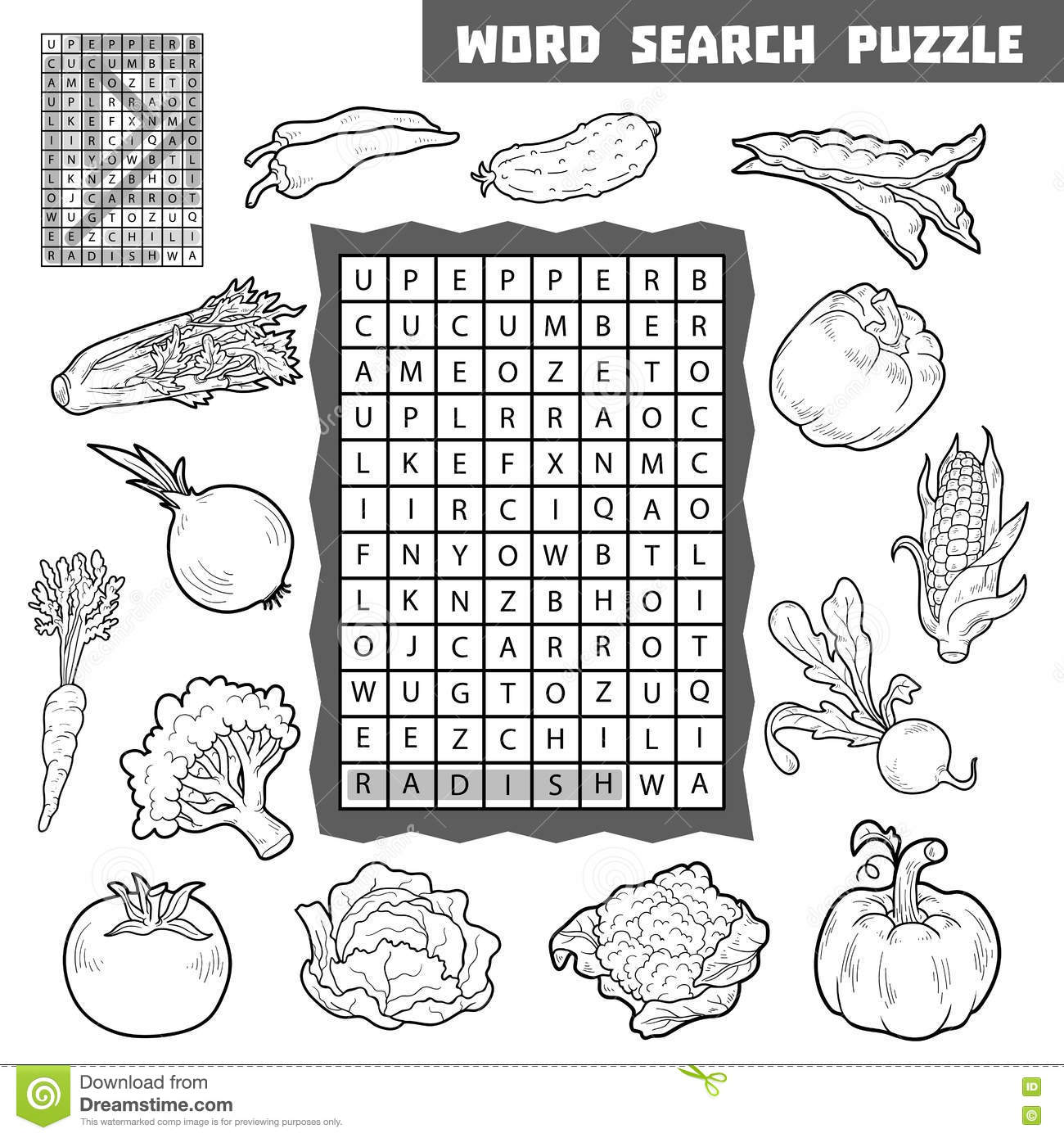 Vector Colorless Crossword About Vegetables Word Search