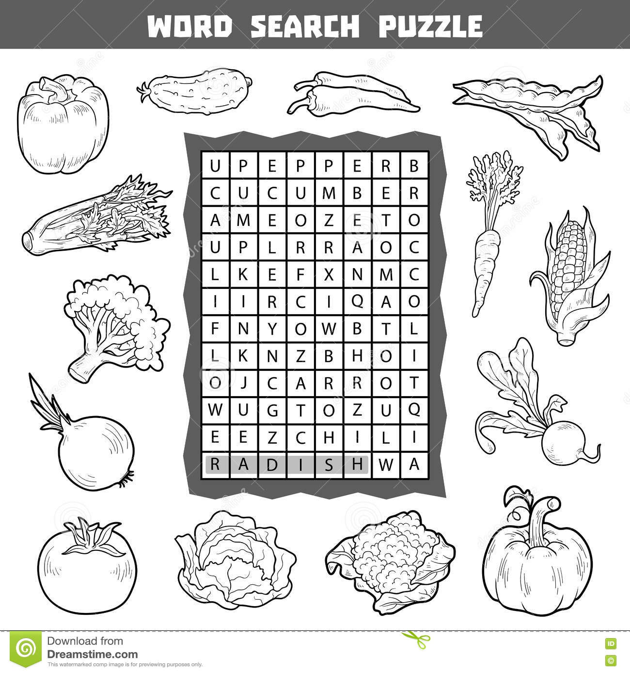 Vector Colorless Crossword About Vegetables Word Search Puzzle Stock Vector