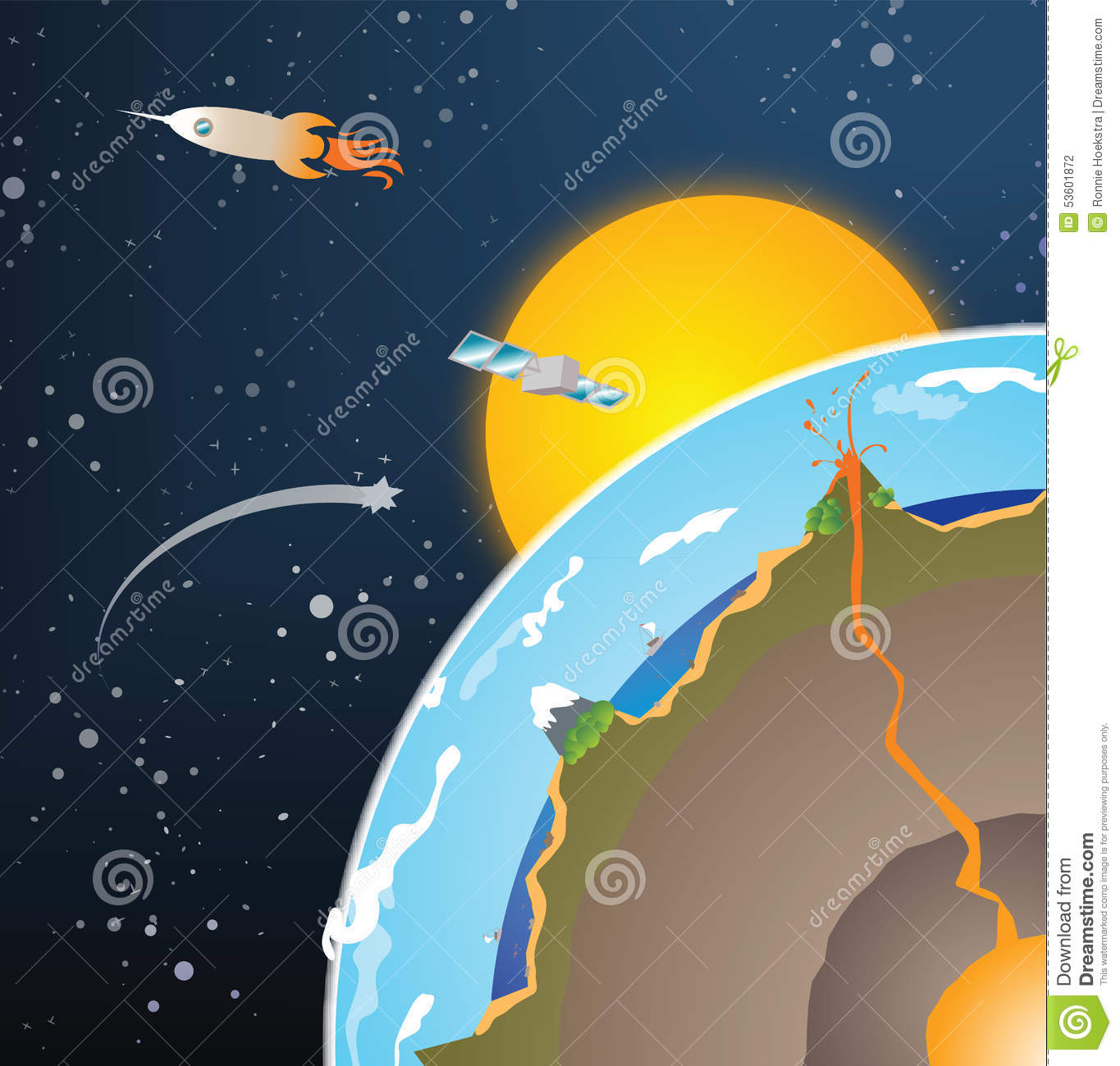 Vector Cross Section Earth Stock Vector Illustration Of