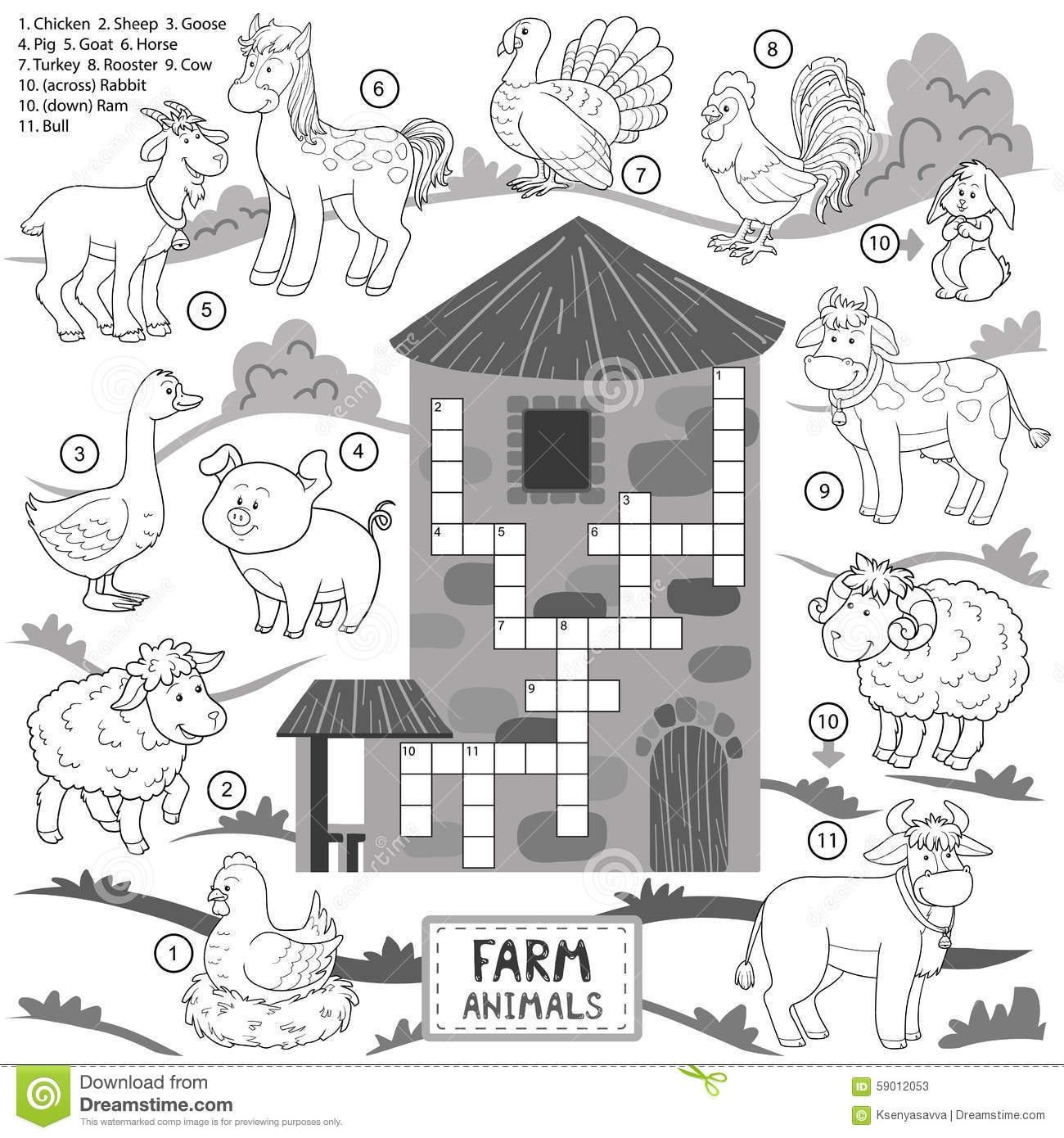 Vector Crossword Education Game For Children About Farm