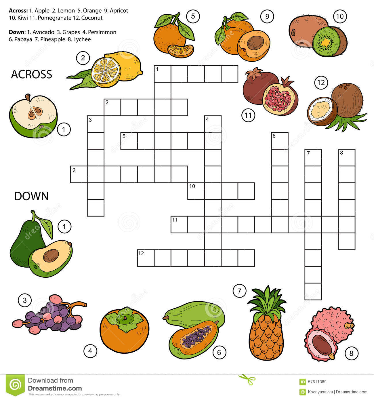Vector Crossword Game For Children About Fruits Stock