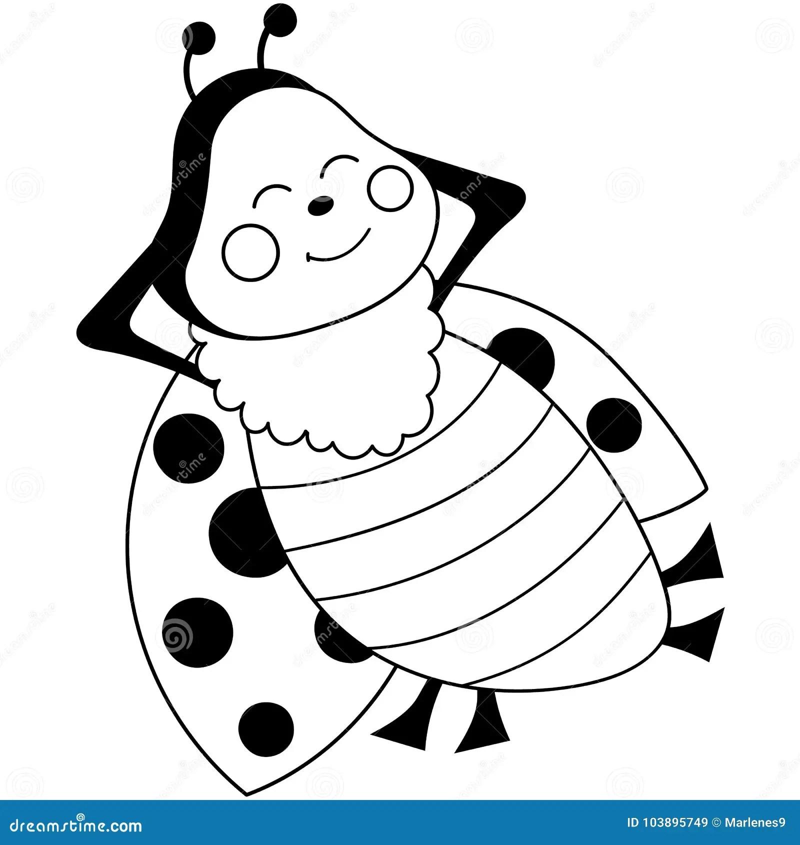 Vector Cute Cartoon Ladybug Sleeping Stock Vector