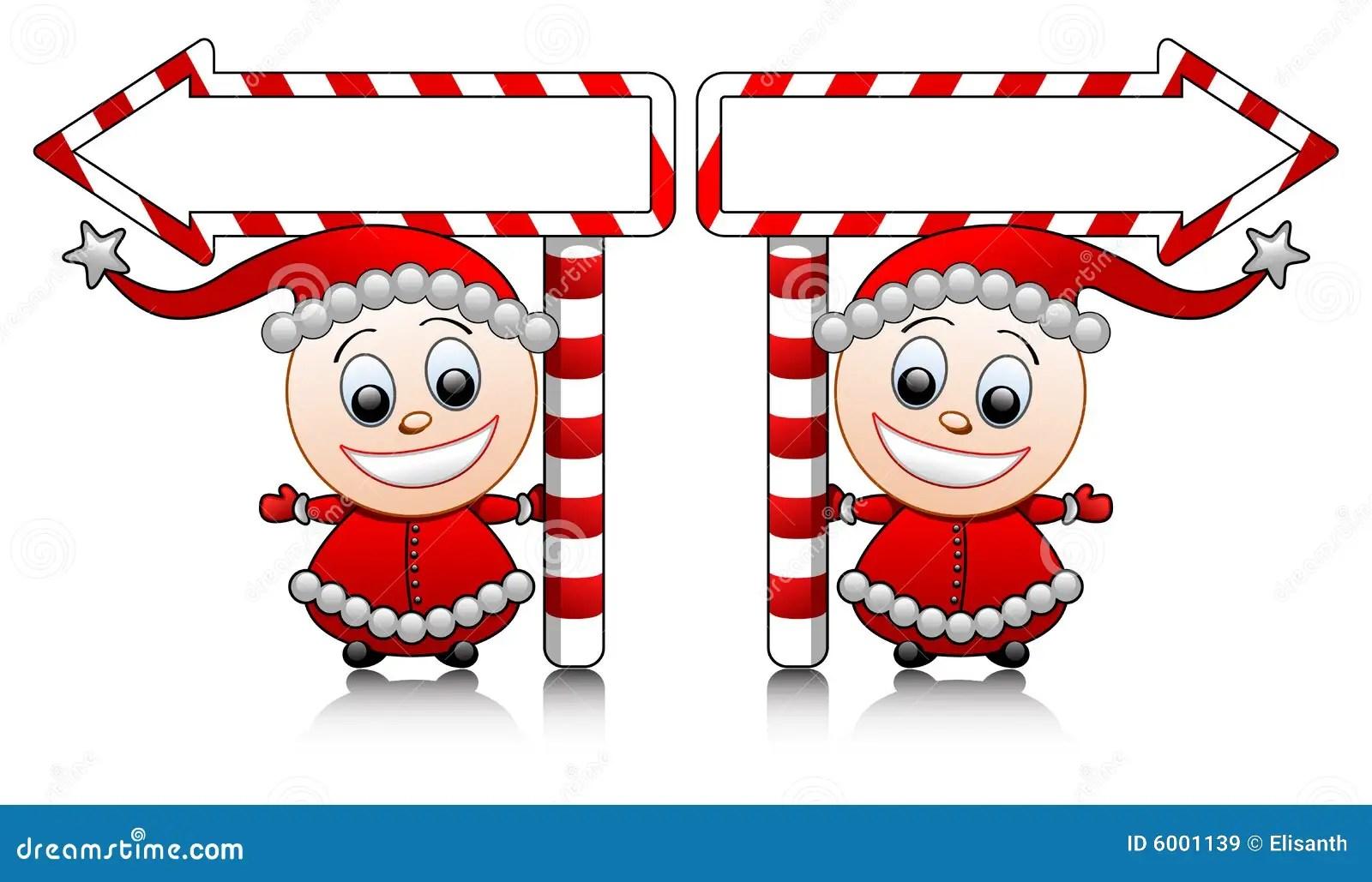 Vector Cute Santa Helpers With Arrows Stock Vector Image
