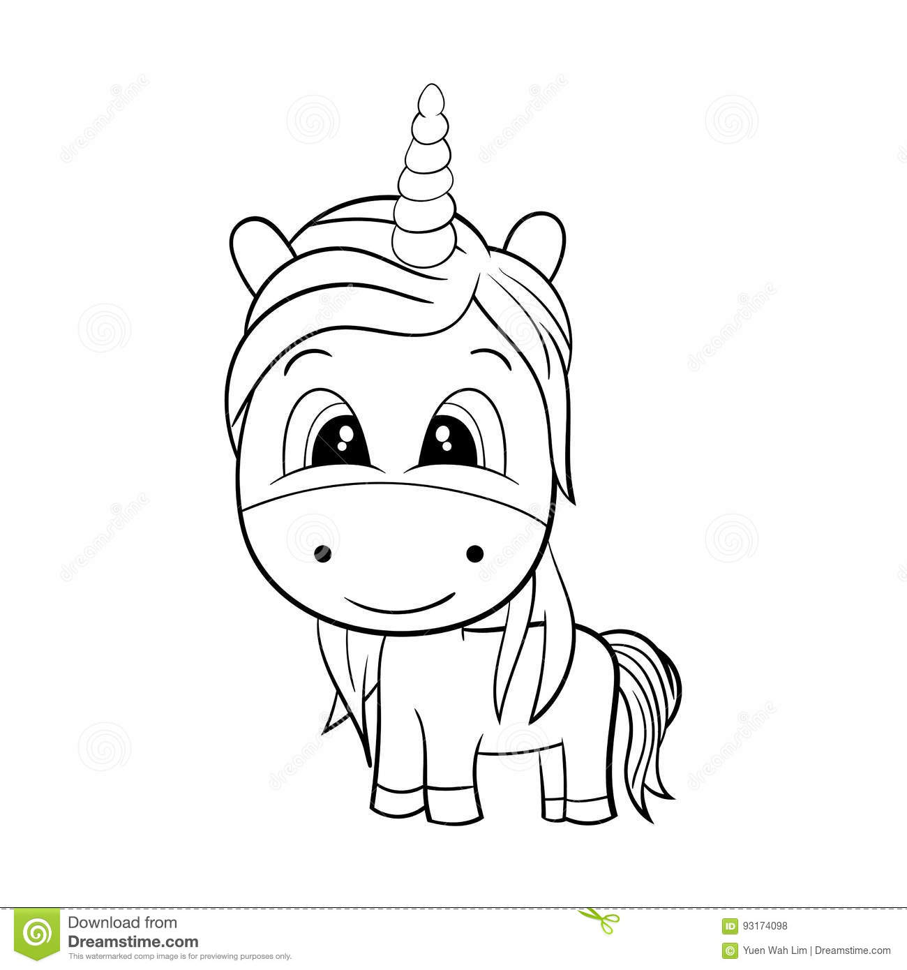 Vector Of Cute Unicorn Black And White Eps8 Stock