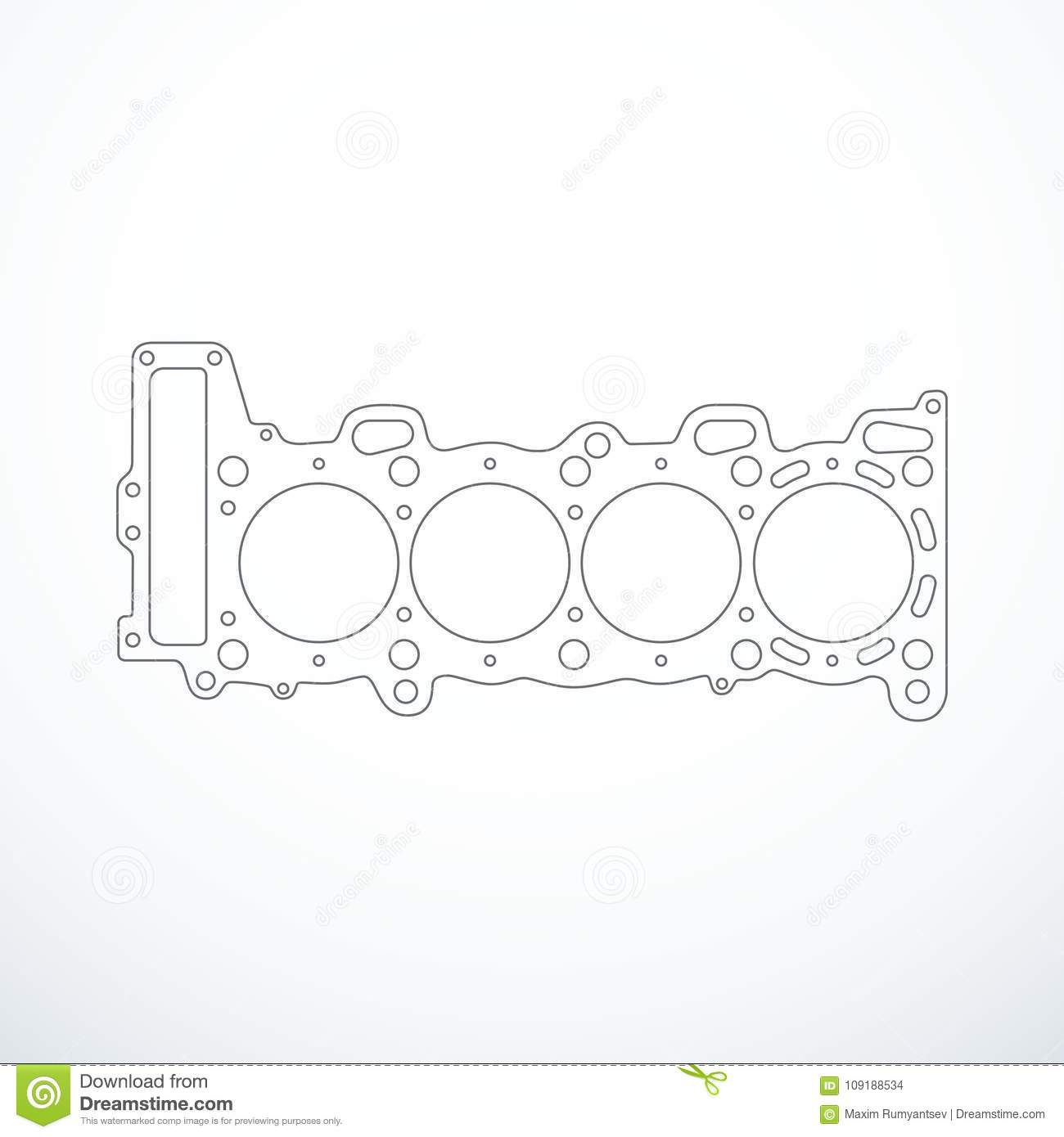 Vector Cylinder Head Gasket Isolated Stock Vector