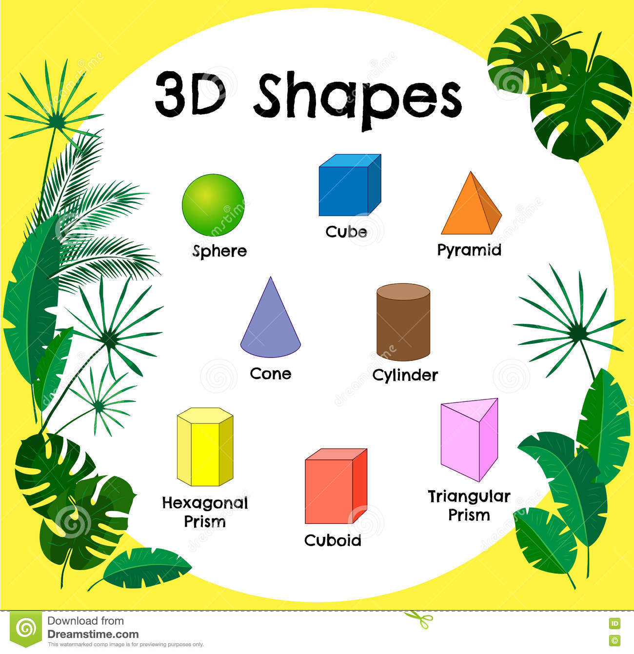 Vector 3d Shapescational Poster For Childrent Of 3d