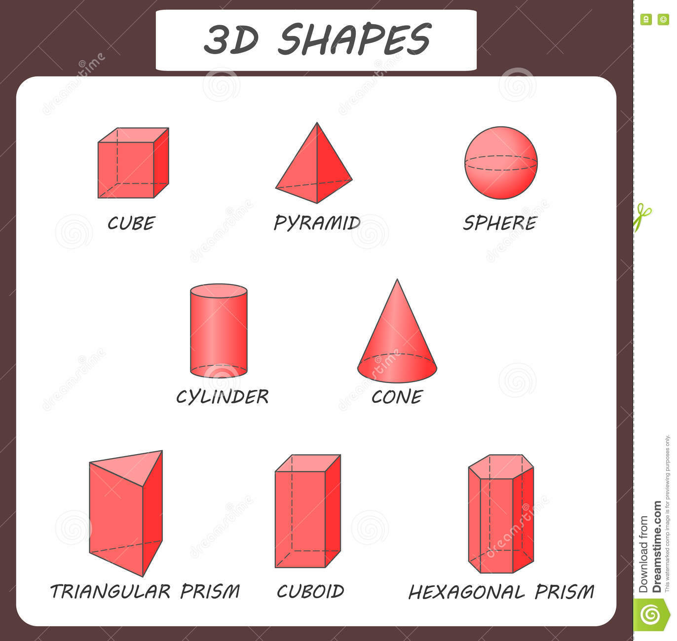 Vector 3d Shapes Educational Poster For Children Solid