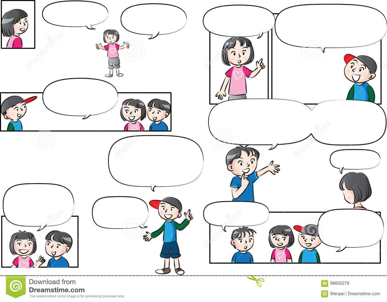 Vector Drawing Kids Talk With Speech Bubble Stock Vector