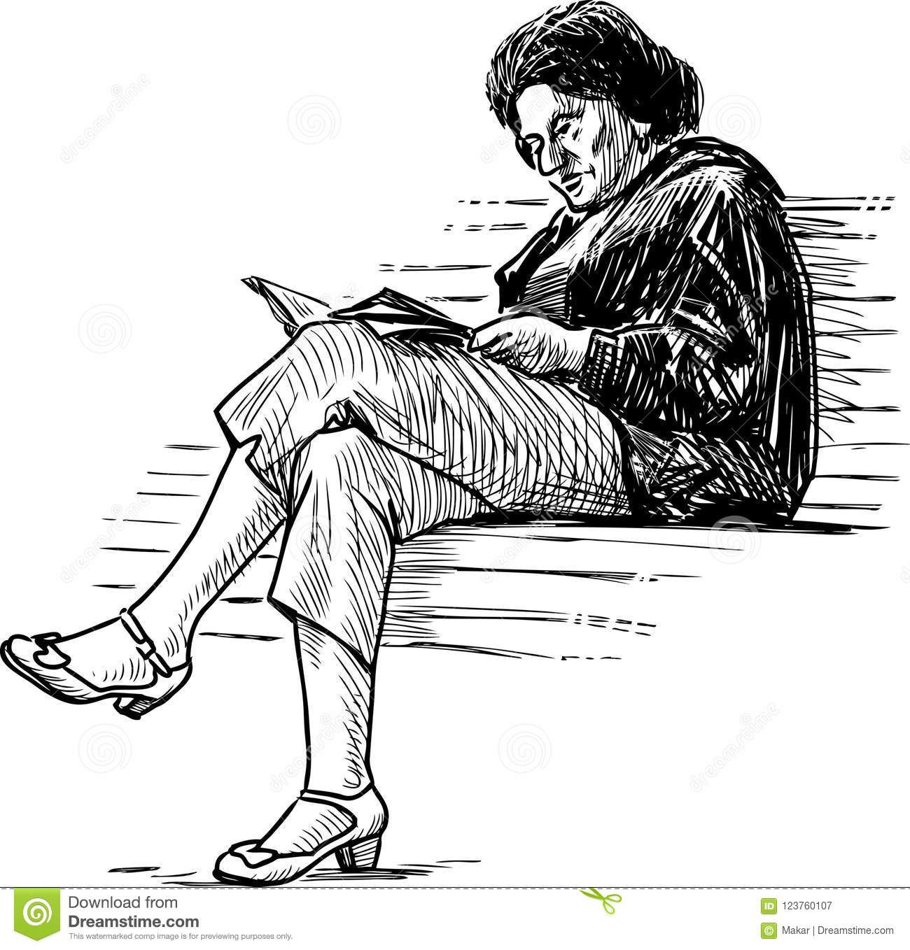 Woman Reading Book Bench Stock Illustrations 100 Woman