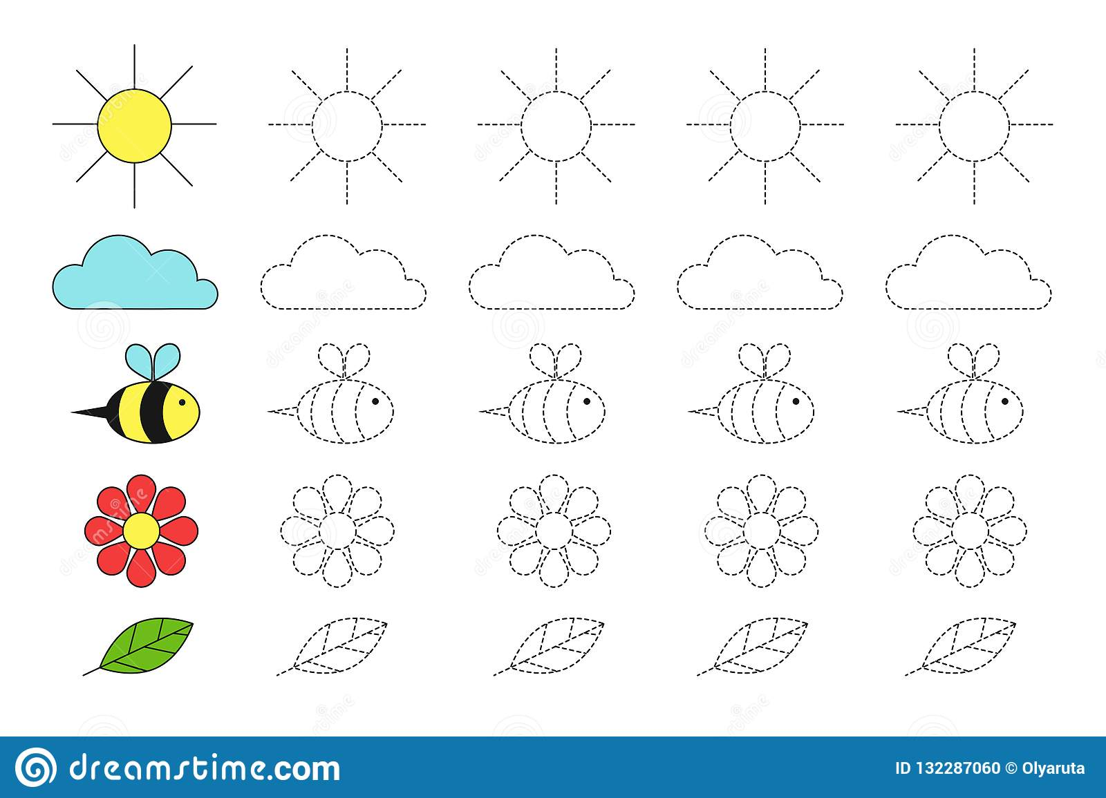 Simple Educational Game With Sun Cloud Bee Flower And