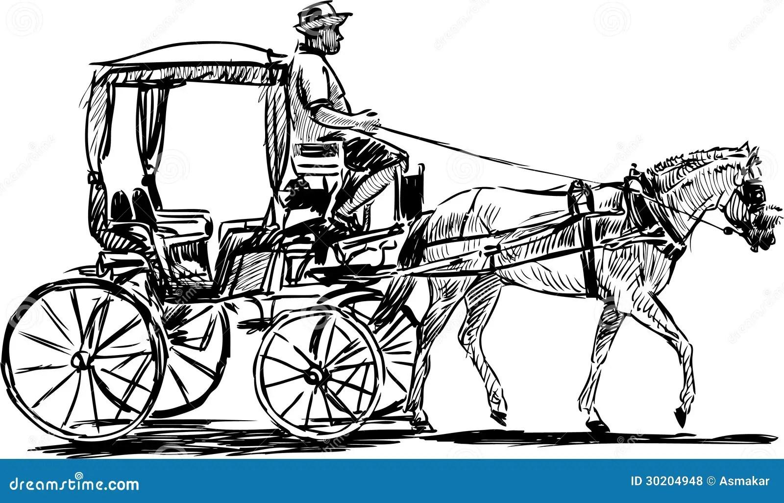 Carro Traido Por Caballo Ilustracion Del Vector