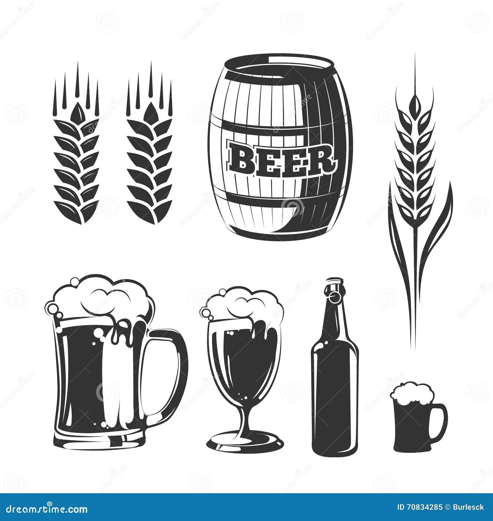 Beer Bottle And Glass Alcohol Drink Vintage Vector