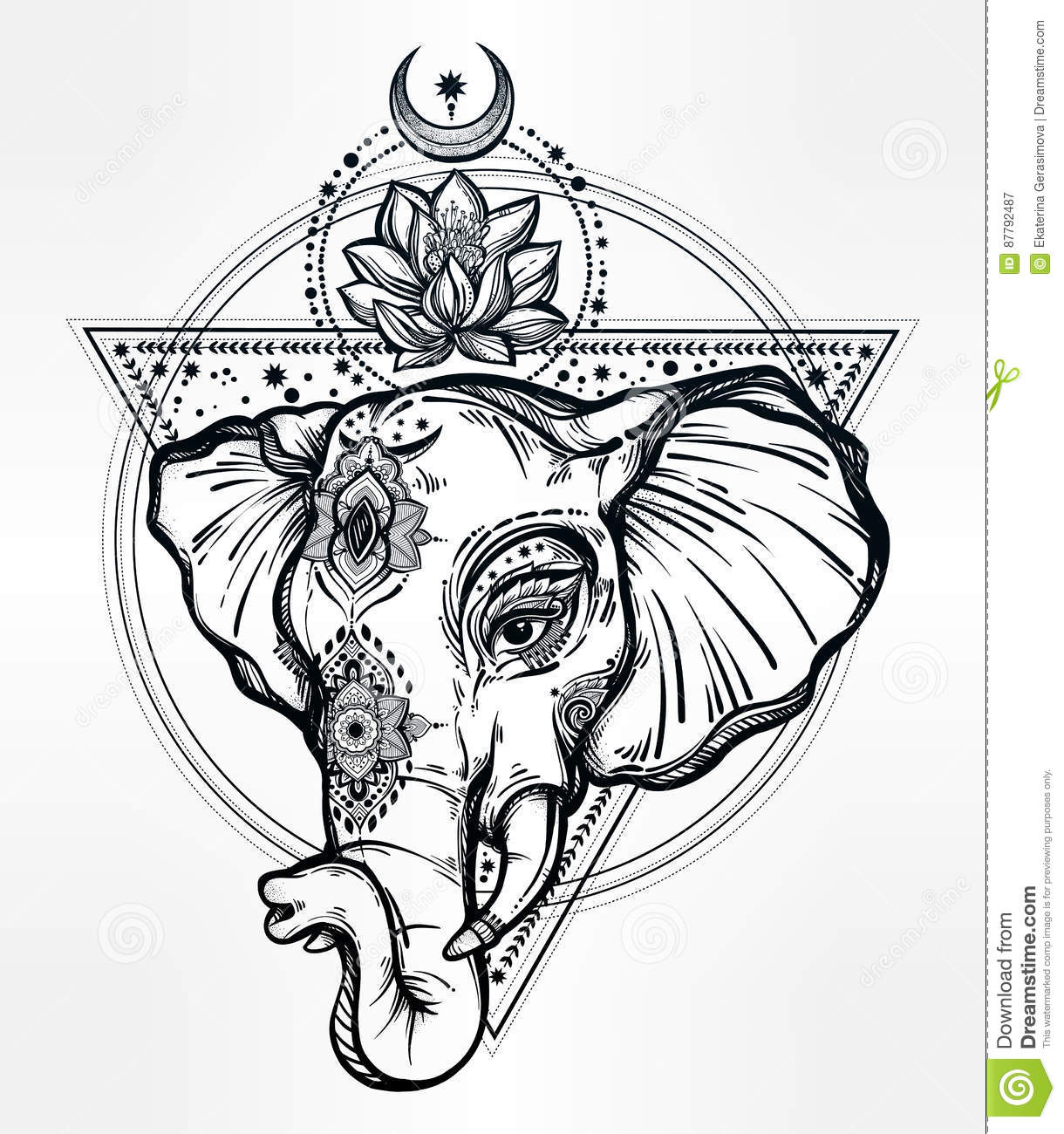 Vector Elephant With Lotus And Sacred Geometry Stock