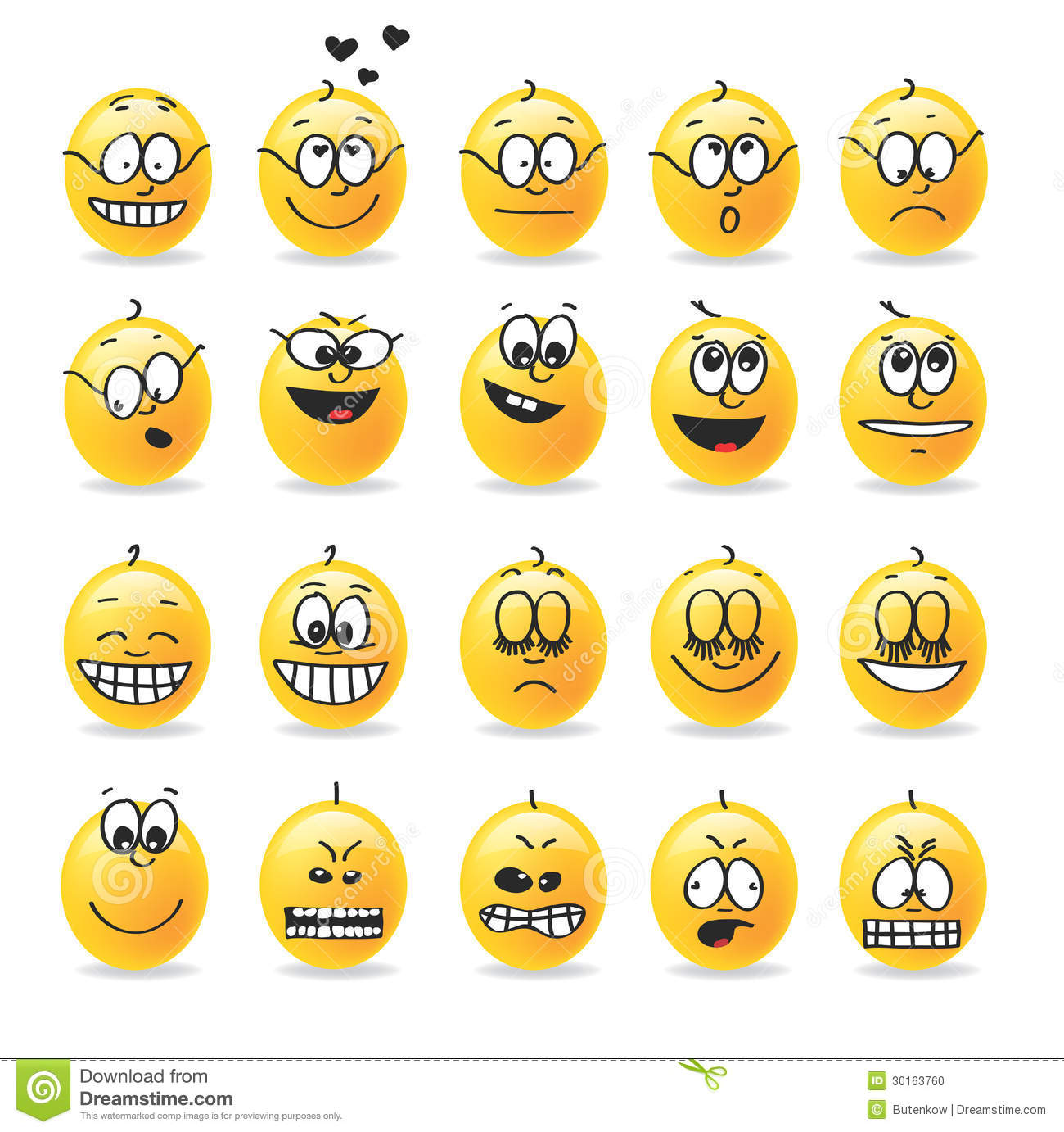 Vector Smiley Emotions Moods Stock Vector