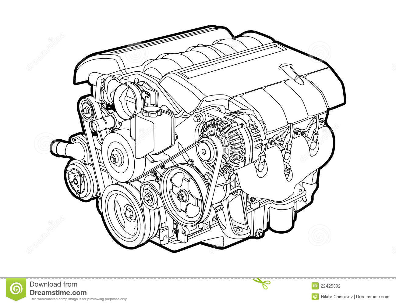 Vector Engine Stock Vector Illustration Of Frontal Front