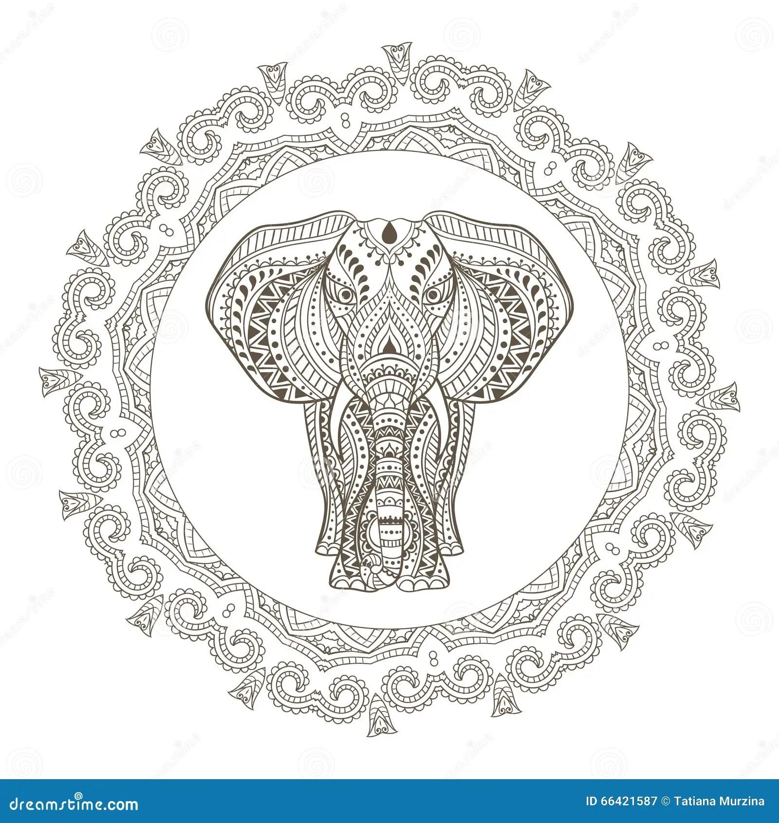 Vector Ethnic Indian Elephant In Mandala Frame Stock