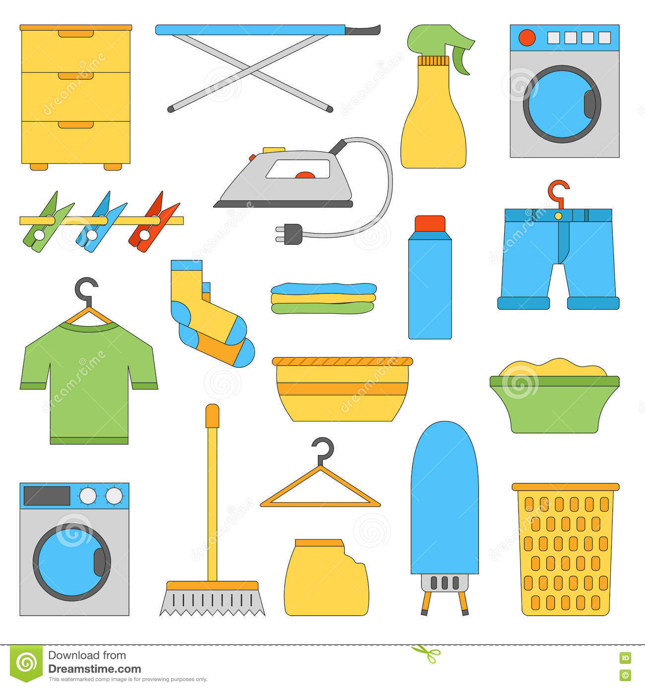 Vector Flat Laundry Room Objects Stock Vector