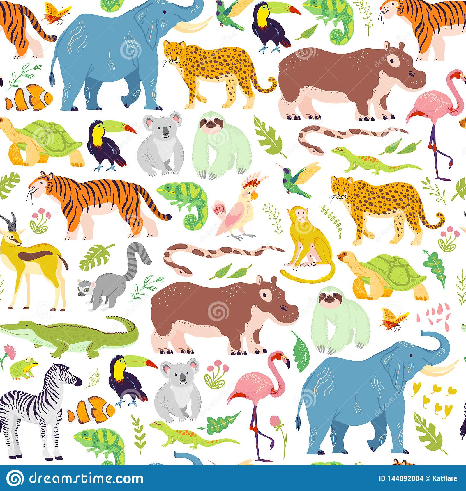 Vector Flat Tropical Seamless Pattern With Hand Drawn