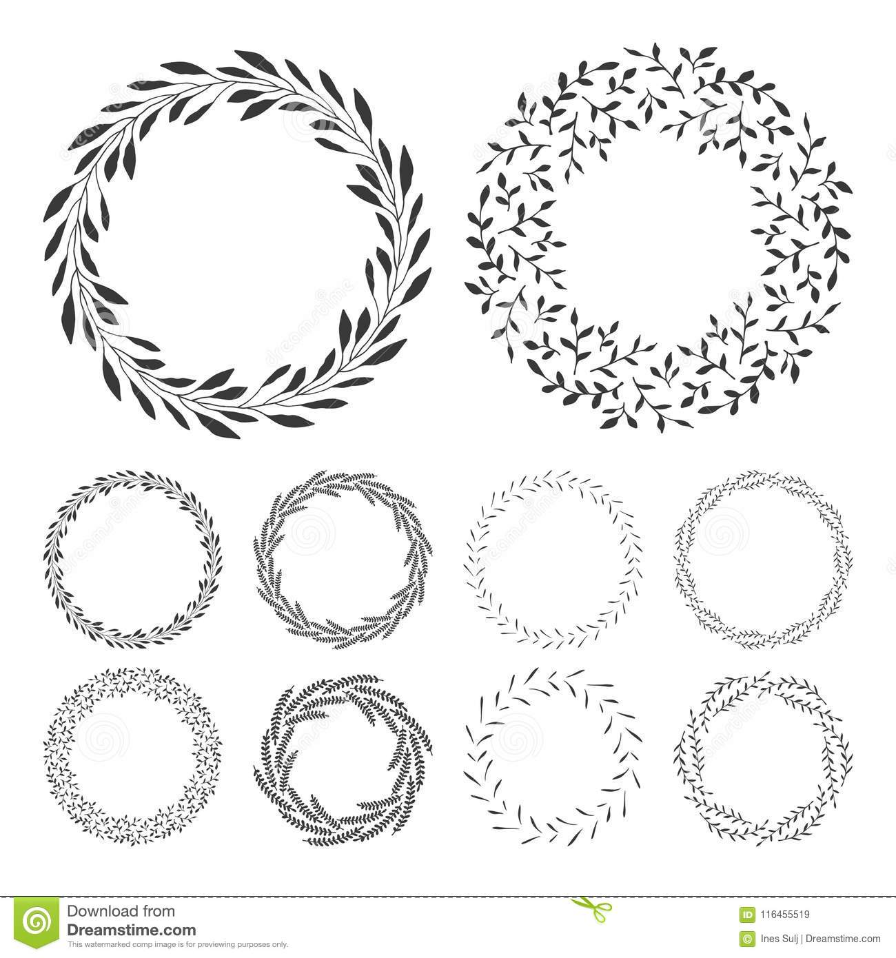 Hand Drawn Floral Wreath Clip Art Round Frame With Leaves