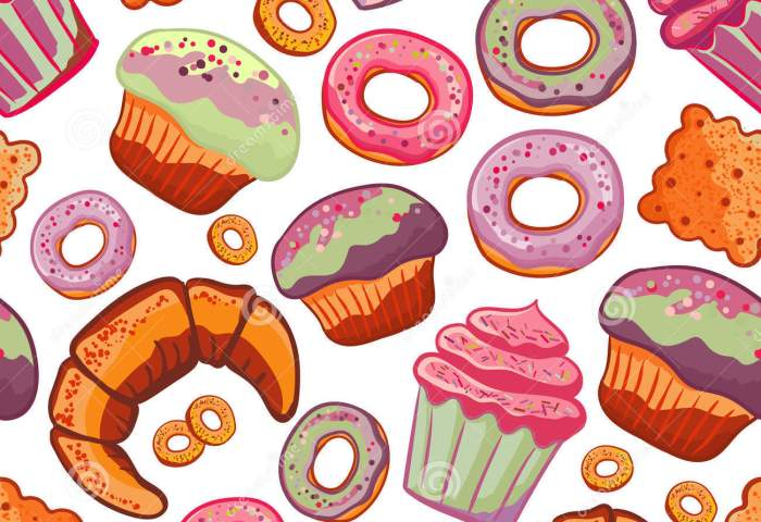 Vector Food Bakery Seamless Pattern With Baked Goods Flour Products