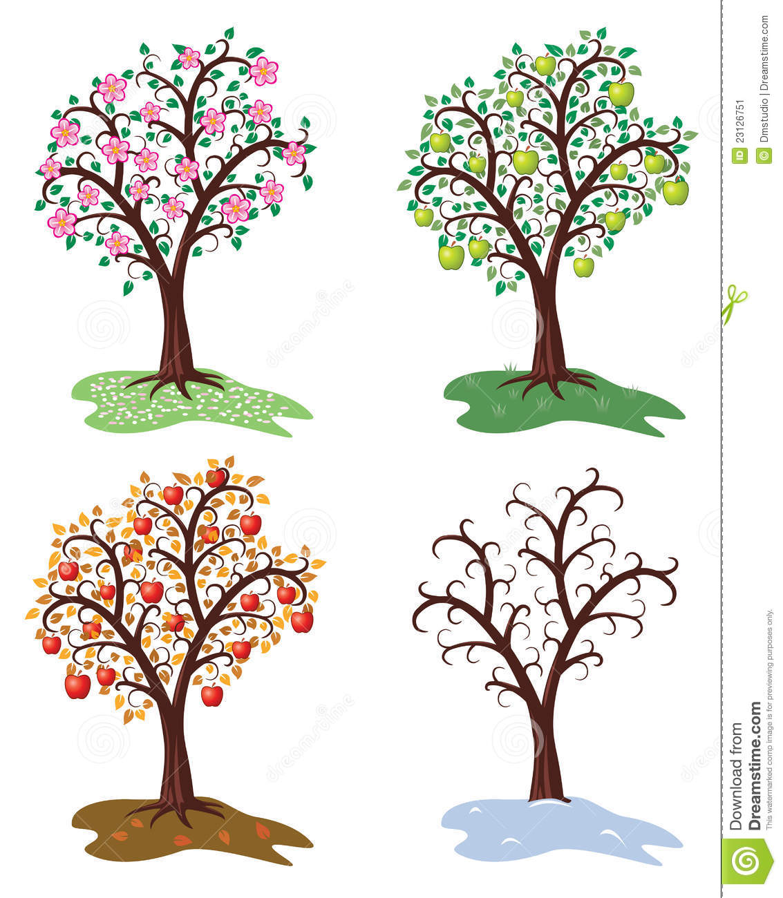 Vector Four Seasons Of Apple Tree Stock Vector