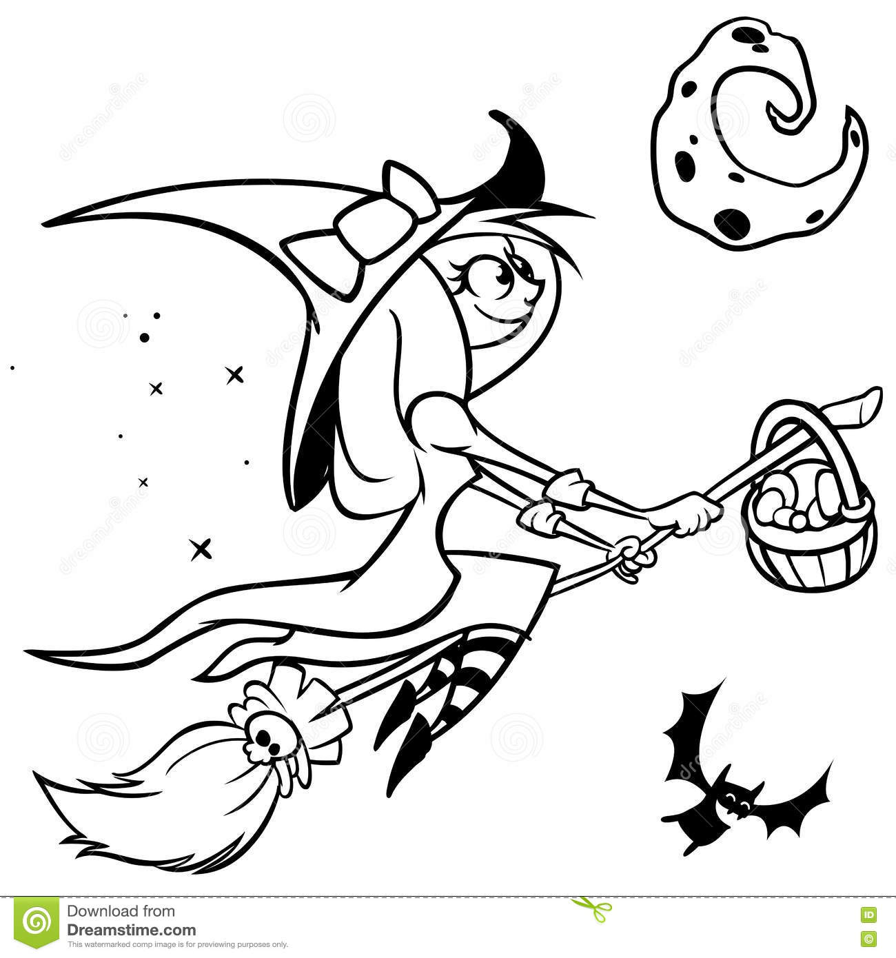 Vector Funny Halloween Witch Flying On Her Broom Black