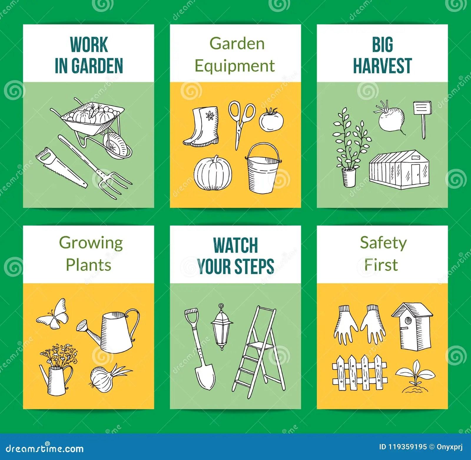 Vector Gardening Doodle Icons Card Templates Set
