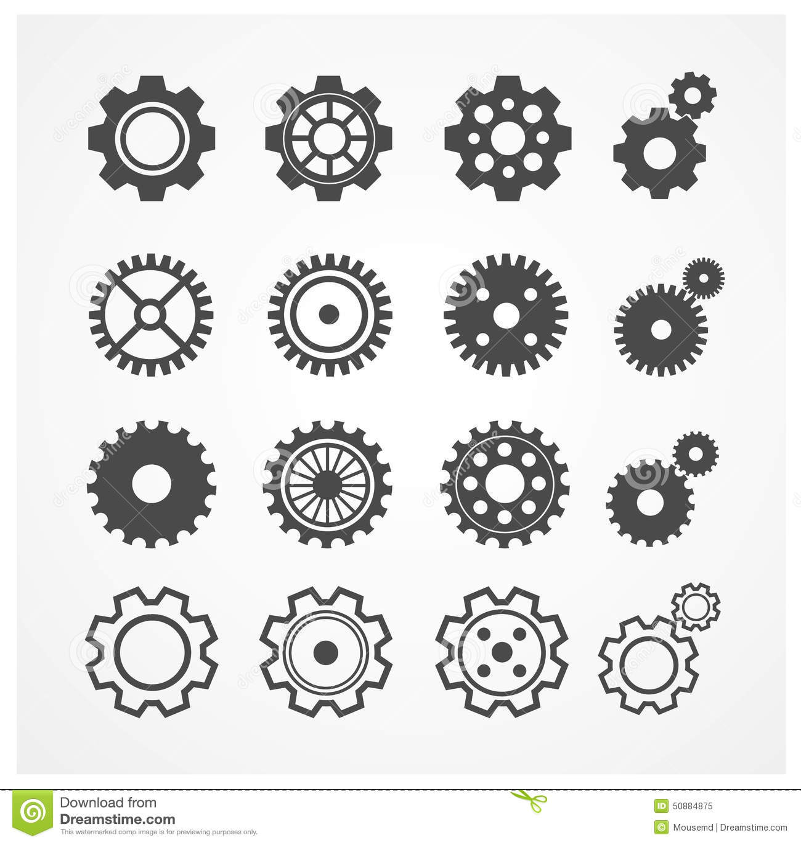 Vector Gear Icon Set Flat Design Stock Vector