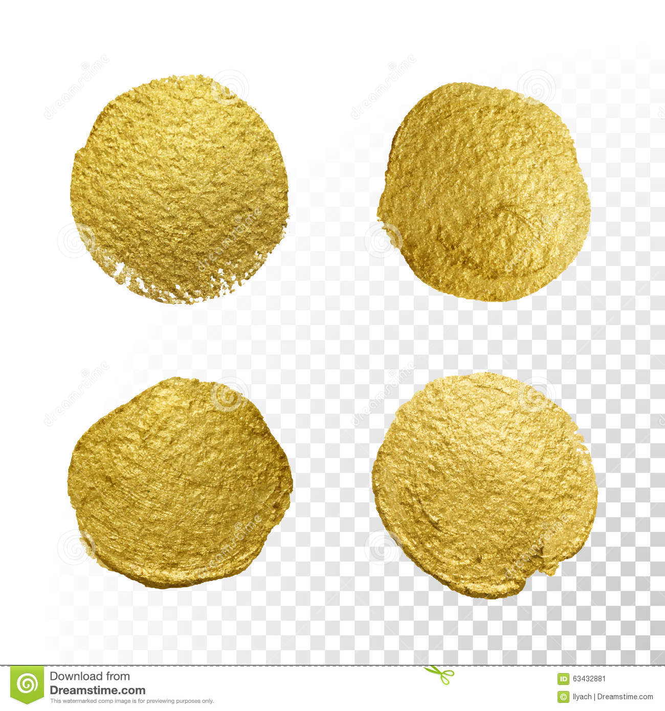Vector Gold Paint Circle Smear Stain Texture Set Stock