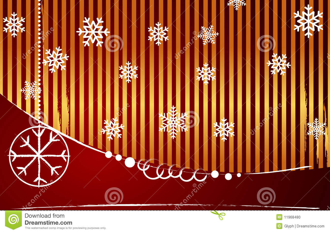 Vector Gold Red Striped Christmas Background Stock Photo