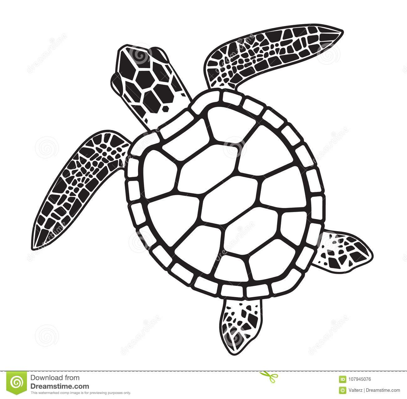 Vector Graphic Illustration Of A Sea Turtle Stock Vector