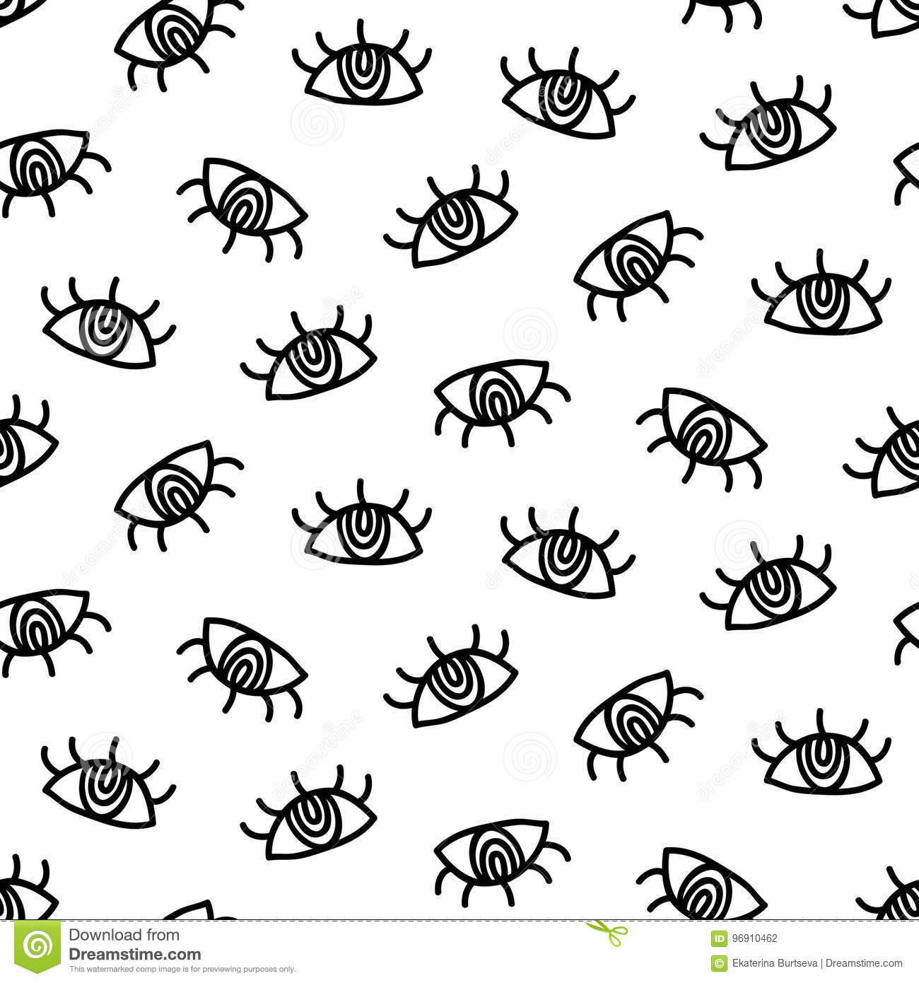 Vector Hand Drawn Eye Simple Doodles Seamless Pattern