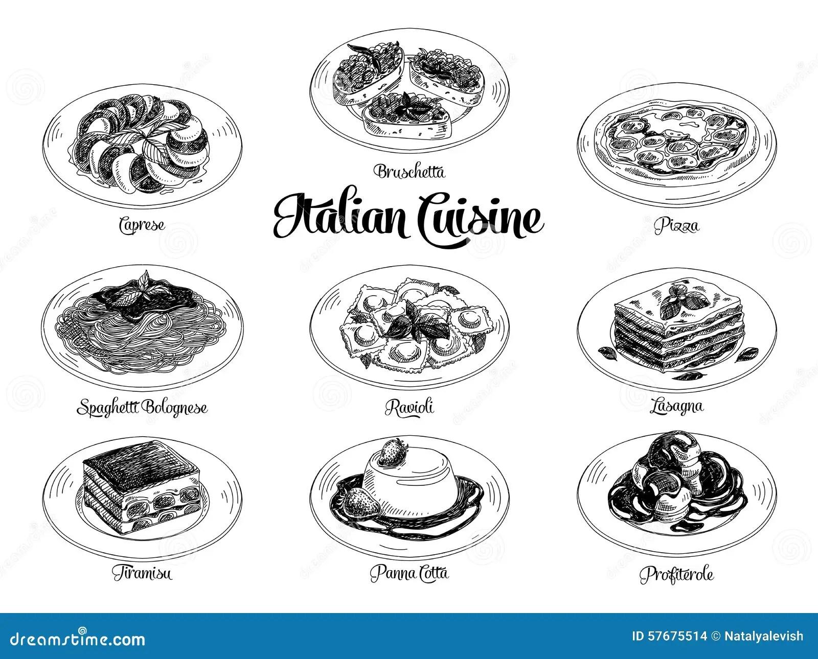 Vector Hand Drawn Illustration With Italian Food Stock