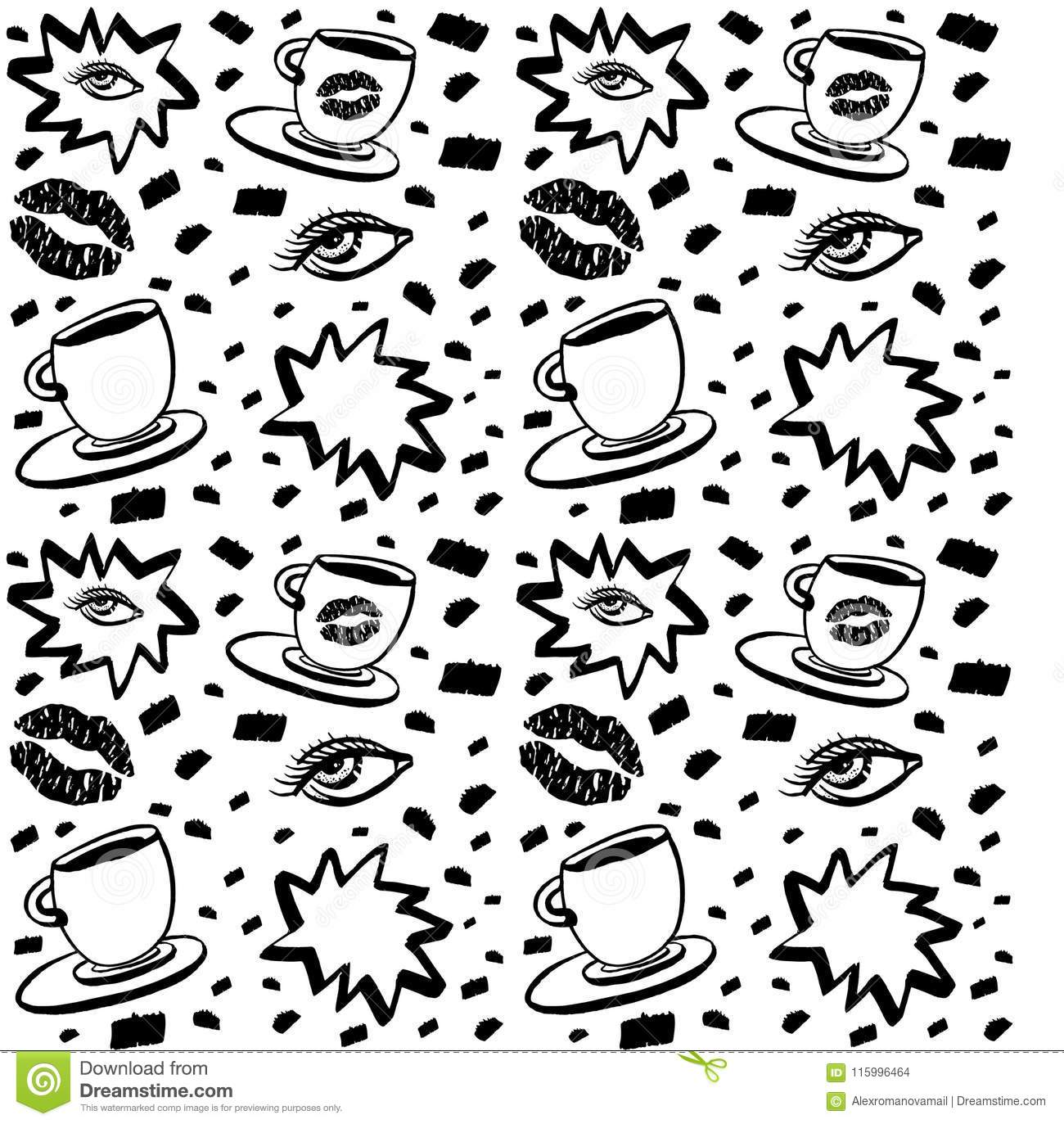 Vector Hand Drawn Ink Seamless Pattern With Woman Eye