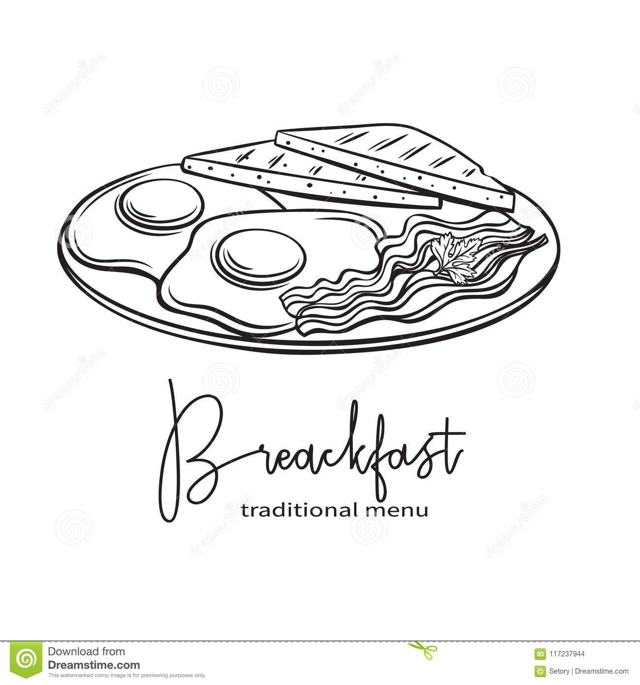 Plate Of Breakfast With Fried Eggs Stock Vector