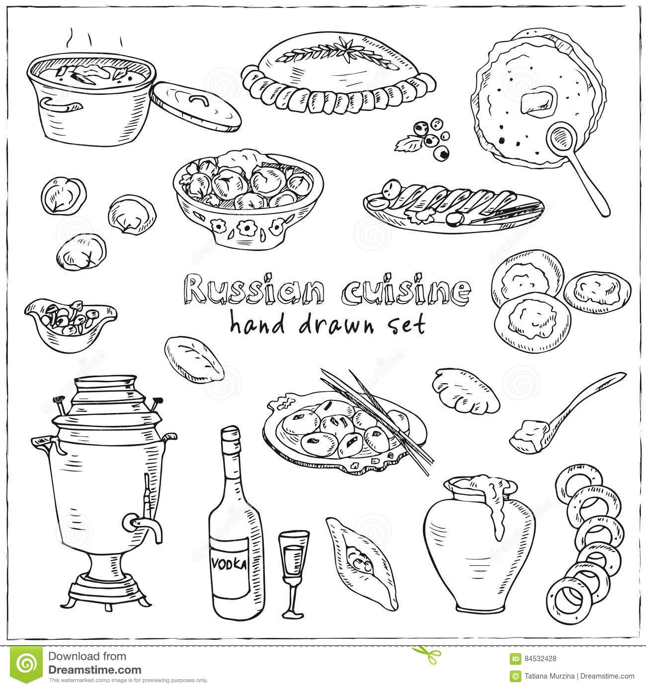 Vector Hand Drawn Set Of Russian Cuisine Pancake Red