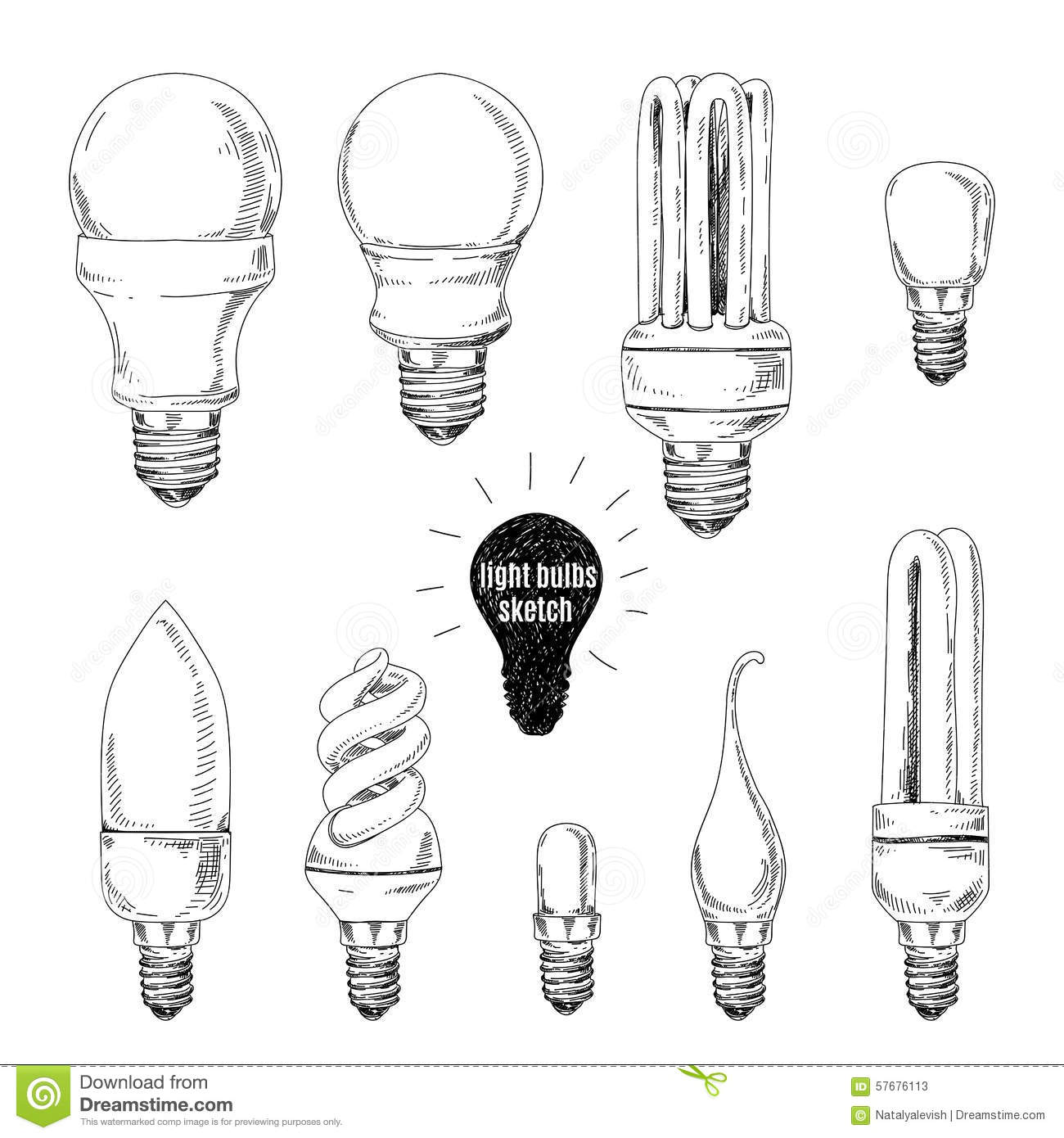 Vector Hand Drawn Set Sketches Of Different Light Stock
