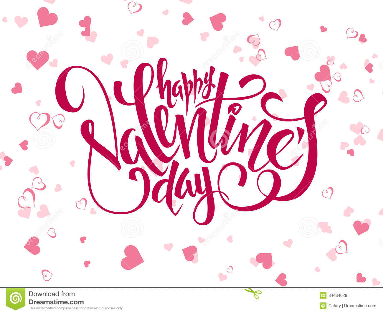 Vector Hand Lettering Valentines Day Greetings Text With