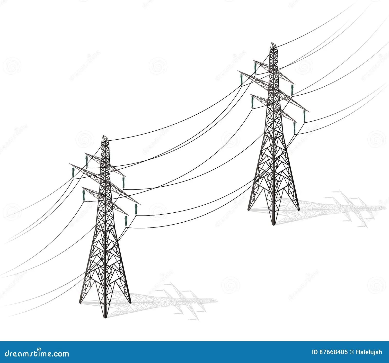 Vector High Voltage Pylons White Background Power Line