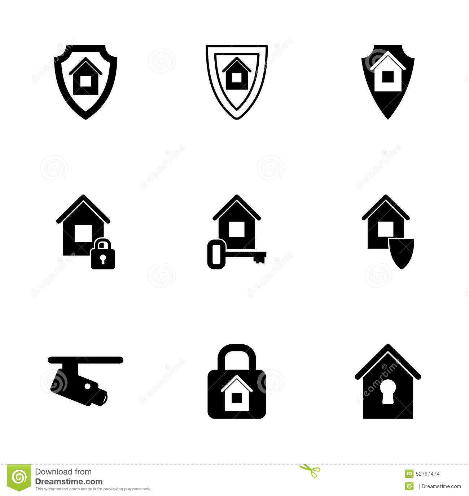 Vector Home Security Icon Set Stock Vector